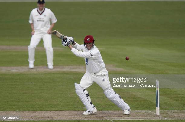 Somerset's Marcus Trescothick hits a four against Lancashire during the LV County Champonship Division One match at Old Trafford Manchester