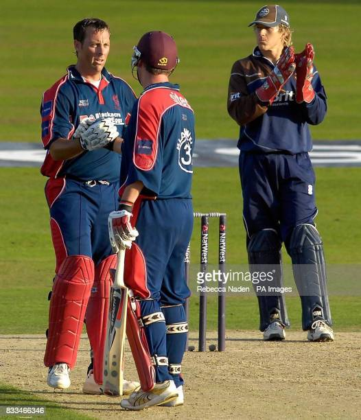 Somerset's Marcus Trescothick is congratulated on his century by Ian Blackwell during the NatWest Pro40 League Division Two match at the Brit Oval...