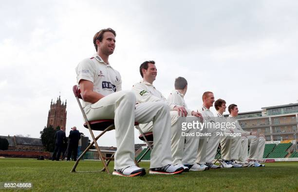 Somerset's Nick Compton and Marcus Trescothick pose for pictures during a media day at The County Ground Taunton