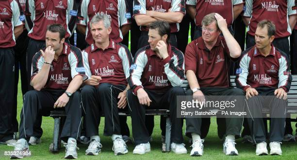 Somerset's Steffan Jones Andrew Caddick vicecaptain Marcus Trescothick director of cricket Brian Rose and captain Justin Langer sit anxiously in the...