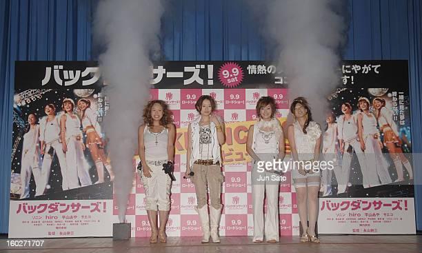 Somim Hiro Aya Hirayama and Saeko during 'Backdancers' Stage Greeting at Yomiuri Hall in Tokyo Japan