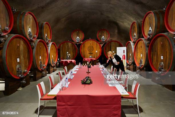 Sommelier Djana Boljevic dresses a table for guests in stateowned winery Plantaze on April 26 2017 in Podgorica Montenegro Russia has banned the...