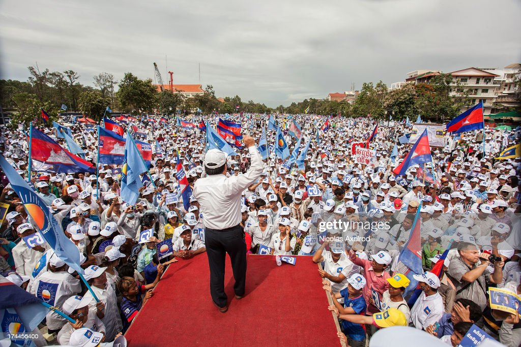 Son Chhay CNRP candidate and law maker holds a speech while waiting for Sam Rainsy and Kem Sokha to arrive at Freedom Park on July 26 2013 in Phnom...