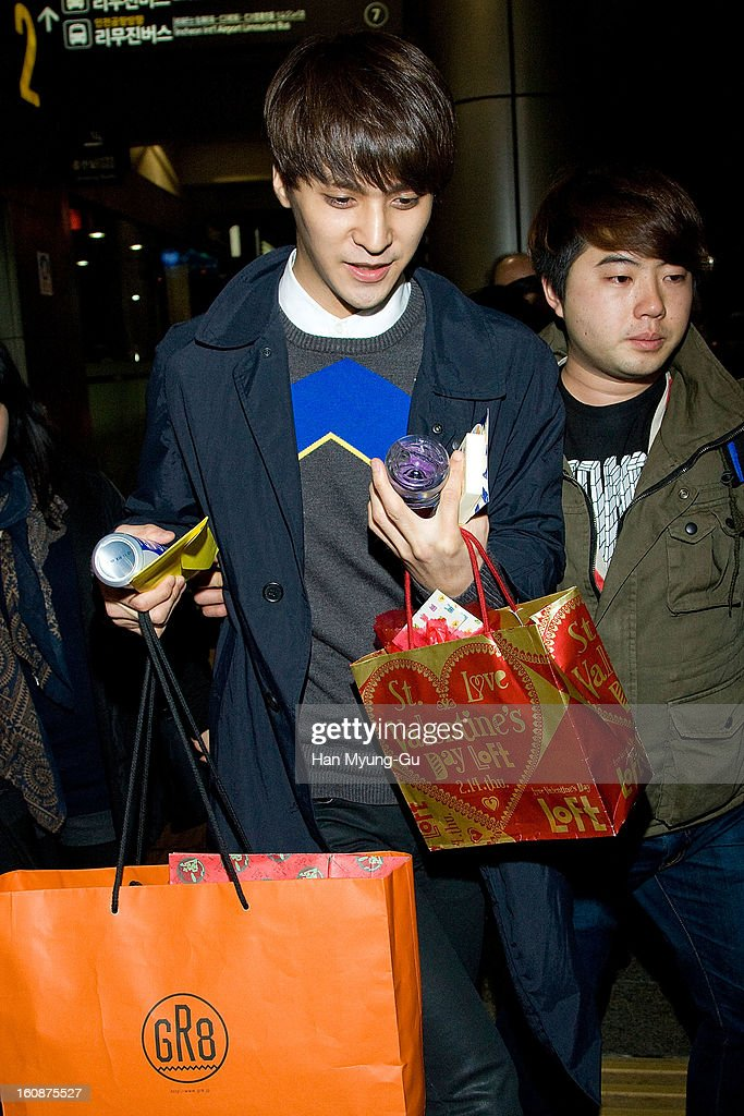 Son Dong-Woon of South Korean boy band Beast is seen at Gimpo International Airport on February 6, 2013 in Seoul, South Korea.