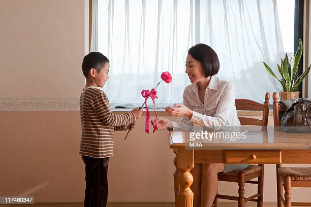 Son giving carnation flower to mother