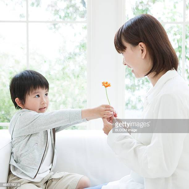 Son Giving Flower To Mother