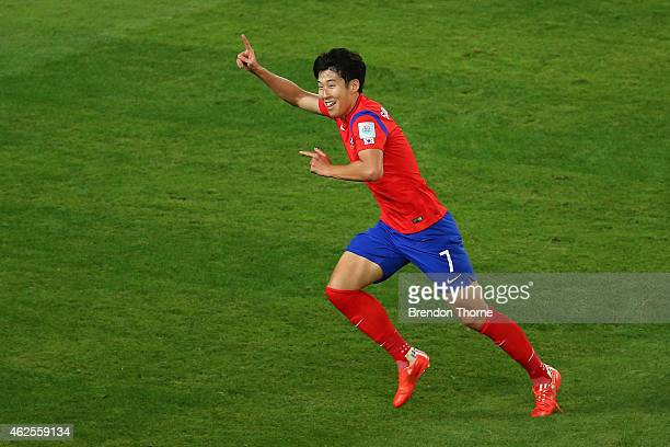 Son Heung Min of Korea Republic celebrates after scoring a goal during the 2015 Asian Cup final match between Korea Republic and the Australian...