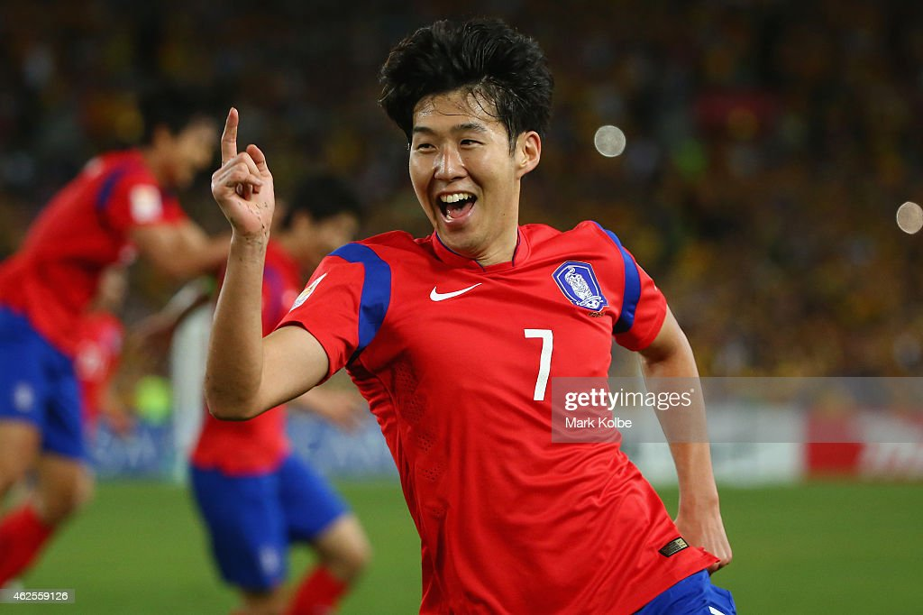 Son Heung Min of Korea Republic celebrates scoring an injury time goal to level the scores during the 2015 Asian Cup final match between Korea Republic and the Australian Socceroos at ANZ Stadium on January 31, 2015 in Sydney, Australia.