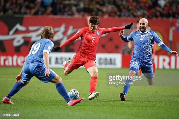 Son Heung Min of South Korea shoots at goal during the 2018 FIFA World Cup qualifying match between South Korea and Uzbekistan at Seoul World Cup...