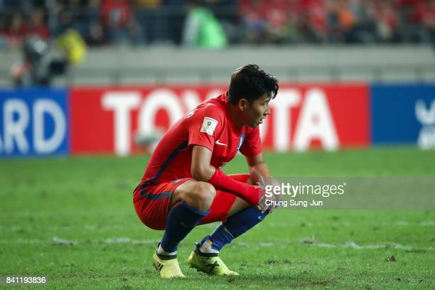 Son Heung Min of South Korea shows dejection after the scoreless draw in the FIFA World Cup Russia Asian qualifier match between South Korea and Iran...