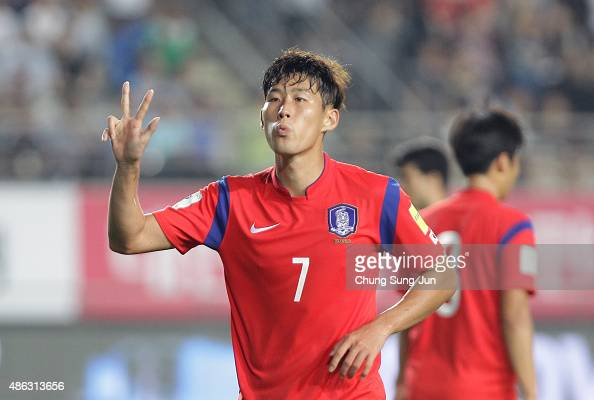 Son HeungMin of South Korea celebrates after scoring a goal during the 2018 FIFA World Cup Qualifier Round 2 Group G match between South Korea and...