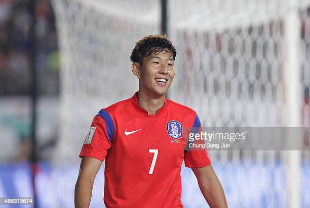 Son HeungMin of South Korea reacts during the 2018 FIFA World Cup Qualifier Round 2 Group G match between South Korea and Laos at Hwaseong on...