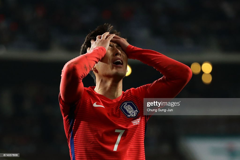 Son Heung-Min of South Korea reacts during the international friendly match between South Korea and Serbia at Ulsan World Cup Stadium on November 14, 2017 in Ulsan, South Korea.