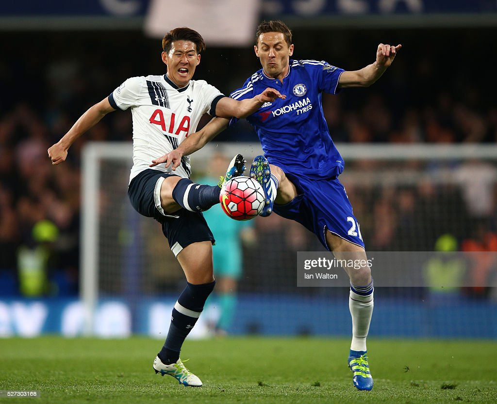 Son Heung-Min of Tottenham Hotspur and Nemanja Matic of Chelsea battle for the ball during the Barclays Premier League match between Chelsea and Tottenham Hotspur at Stamford Bridge on May 02, 2016 in London, England.