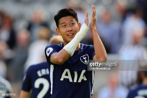 Son HeungMin of Tottenham Hotspur applauds the fans at the end of the Premier League match between Newcastle United and Tottenham Hotspur at St...