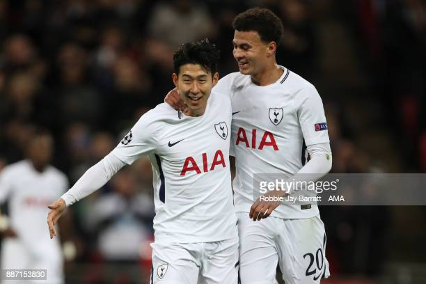 Son HeungMin of Tottenham Hotspur celebrates after scoring a goal to make it 20 during the UEFA Champions League group H match between Tottenham...