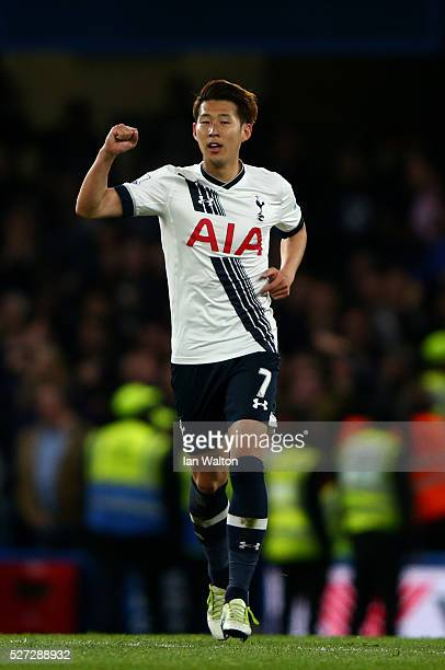 Son HeungMin of Tottenham Hotspur celebrates after scoring his team's second goal during the Barclays Premier League match between Chelsea and...