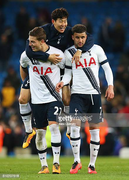 Son HeungMin of Tottenham Hotspur celebrates victory with Kevin Wimmer and Kyle Walker of Tottenham Hotspur after the Barclays Premier League match...