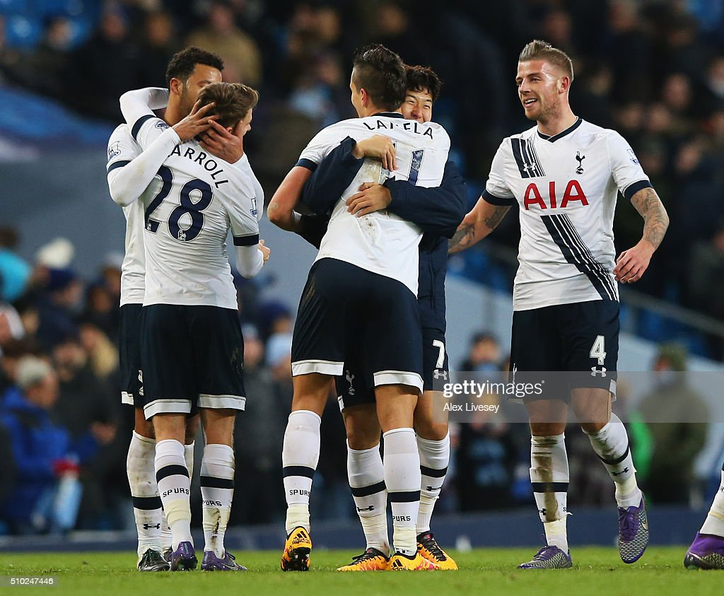 Son Heung-Min of Tottenham Hotspur celebrates with <a gi-track='captionPersonalityLinkClicked' href=/galleries/search?phrase=Erik+Lamela&family=editorial&specificpeople=7198648 ng-click='$event.stopPropagation()'>Erik Lamela</a> of Tottenham Hotspur after the Barclays Premier League match between Manchester City and Tottenham Hotspur at Etihad Stadium on February 14, 2016 in Manchester, England.