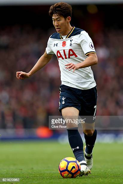 Son Heungmin of Tottenham Hotspur during the Premier League match between Arsenal and Tottenham Hotspur at Emirates Stadium on November 6 2016 in...