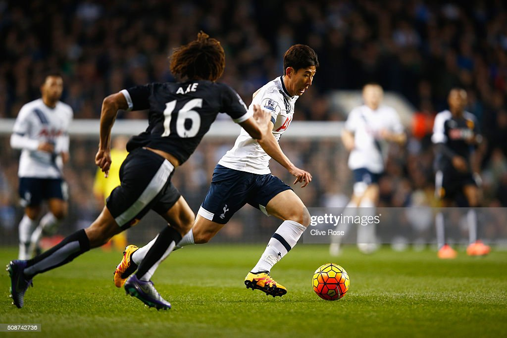 Son Heung-min of Tottenham Hotspur in action during the Barclays Premier League match between Tottenham Hotspur and Watford at White Hart Lane on February 6, 2016 in London, England.