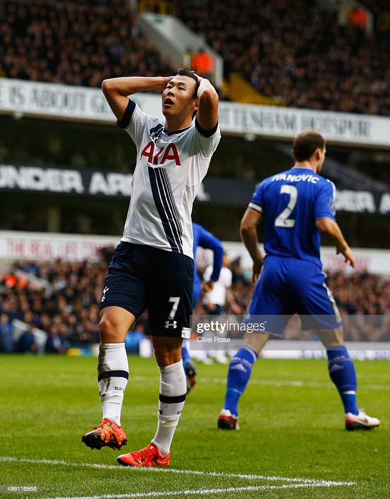 Son Heung-Min of Tottenham Hotspur reacts during the Barclays Premier League match between Tottenham Hotspur and Chelsea at White Hart Lane on November 29, 2015 in London, England.