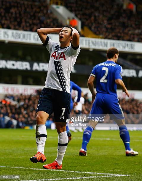 Son HeungMin of Tottenham Hotspur reacts during the Barclays Premier League match between Tottenham Hotspur and Chelsea at White Hart Lane on...