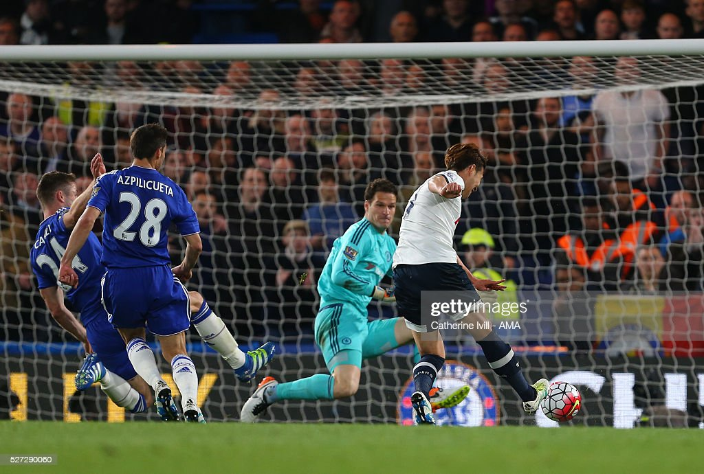 Son Heung-Min of Tottenham Hotspur scores a goal to make it 0-2 during the Barclays Premier League match between Chelsea and Tottenham Hotspur at Stamford Bridge on May 2, 2016 in London, England.
