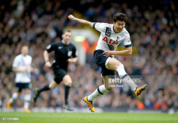 Son HeungMin of Tottenham Hotspur shoots at goal during the Emirates FA Cup Fifth Round match between Tottenham Hotspur and Crystal Palace at White...