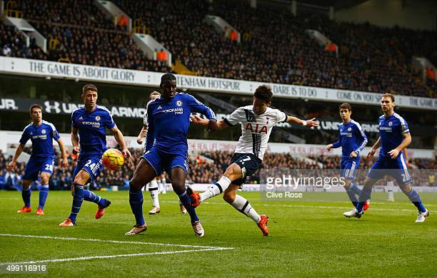 Son HeungMin of Tottenham Hotspur shoots past Kurt Zouma of Chelsea during the Barclays Premier League match between Tottenham Hotspur and Chelsea at...