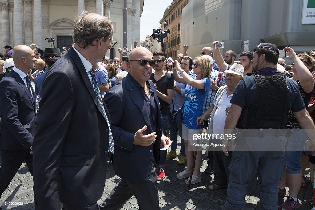 Son of Carlo Pedersoli (Bud Spencer) attends the funeral ceremony of Italian actor Carlo Pedersoli also known as Bud Spencer outside the Santa Maria in Montesanto at Piazza del Popolo in Rome, Italy, 30 June 2016.