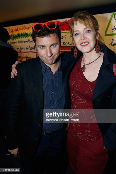 Son of Coluche Romain Colucci and actress Agnes Soral attend the Coluche Exhibition Opening This exhibition is organized for the 30 years of the...