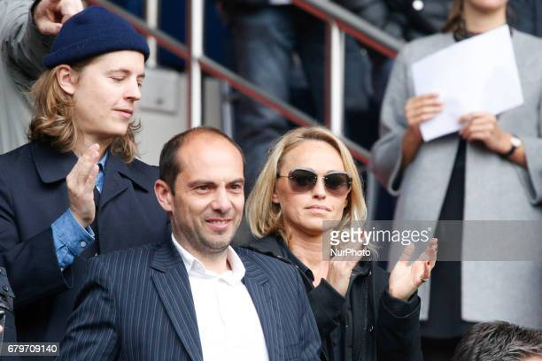 Son of former French President Pierre Sarkozy and French presenter Cecile de Menibus attend the French L1 football match between Paris SaintGermain...