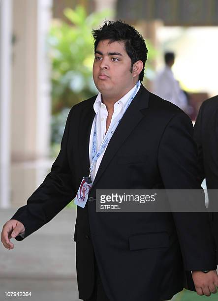 Son of Indian businessman and owner of 'Mumbai Indians' Indian Premier League cricket team Mukesh Ambani Akash Ambani arrives to take part in the...