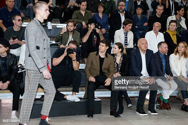 Son of Jeremy Irons Max Irons and his companion Sophie Pera attend the Lanvin Menswear Spring/Summer 2017 show as part of Paris Fashion Week on June...