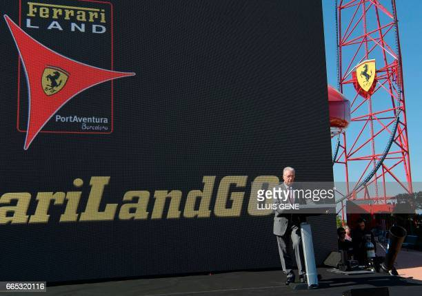 Son of late Italian Ferrari founder Enzo Ferrari Piero Ferrari delivers a speech as he inaugurates the new attraction 'Red Force' the fastest...