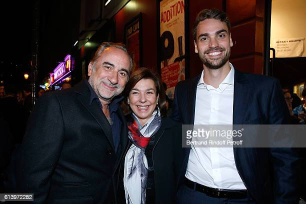 Son of Yves Montand Valentin Livi his mother Carole Amiel and Antoine Dulery attend the 'Ivo Livi ou le destin d'Yves Montand' Theater Play at...