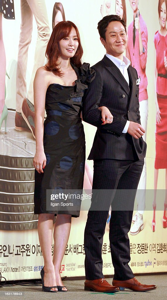 Son Tae-Young and Jung Woo attend the KBS 2TV 'You're The Best Lee Soon-Shin' Press Conference at Seoul Plaza on March 4, 2013 in Seoul, South Korea.