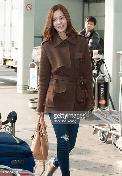 Son TaeYoung is seen at Incheon International Airport on February 18 2014 in Incheon South Korea
