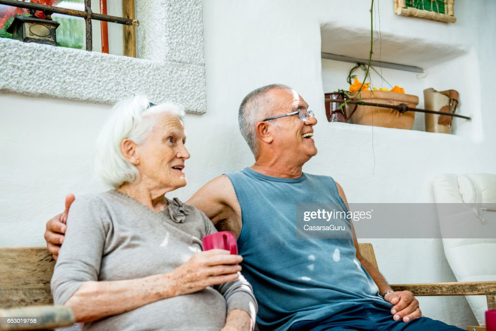 Son Taking Coffee With Her Senior Mother : Stock Photo