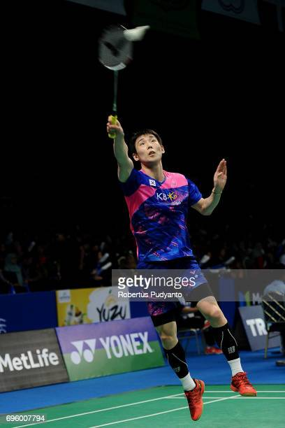 Son Wan Ho of Korea competes against Sai Praneeth B of India during Mens Single Round 2 match of the BCA Indonesia Open 2017 at Plenary Hall Jakarta...