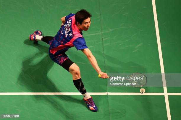 Son Wan Ho of Korea plays a shot during his R16 match against Kidambi Srikanth of India during the Australian Badminton Open at Sydney Olympic Park...