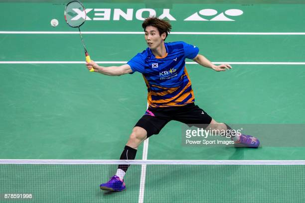 Son Wan Ho of South Korea competes against Sai Praneeth of India during their men singles round 32 match of the BWF Hong Kong Open Super Series 2017...