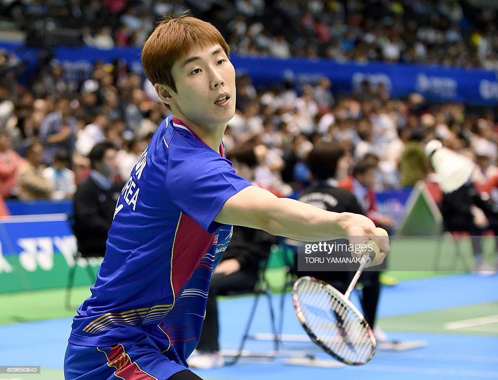 Son Wan Ho of South Korea returns a shot against his patriot
