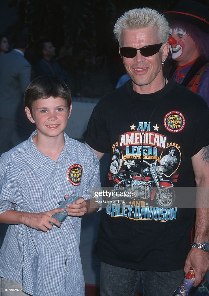 Son Willem Wolf Broad and Billy Idol during Billy Idol and Gene Simmons at the 129th Edition of Ringling Brother Barnum Baily Circus at Los Angeles Sports Arena in Los Angeles, California, United States.