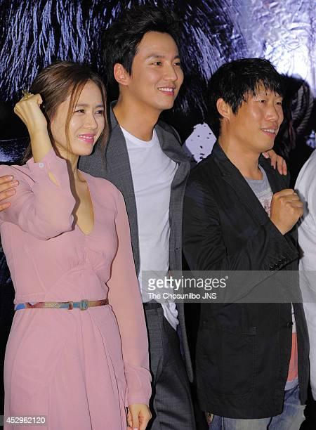 Son YeJin Kim NamGil and Yoo HaeJin attend the movie 'Pirates' VIP premiere at Geondae Lotte cinema on July 29 2014 in Seoul South Korea