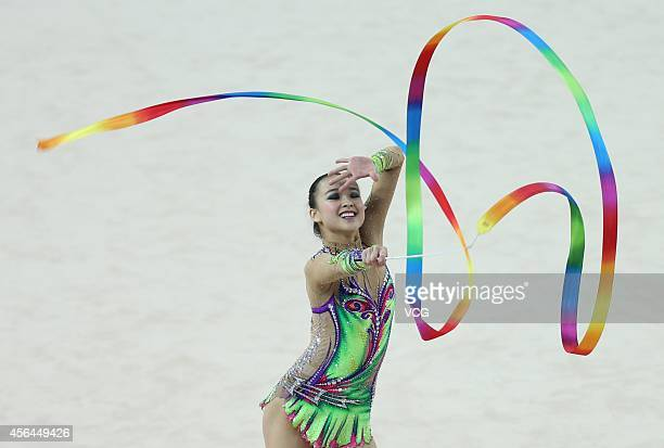 Son Yeon Jae of South Korea competes in rhythmic gymnastics during day twelve of the 2014 Asian Games at Namdong Gymnasium on October 1 2014 in...