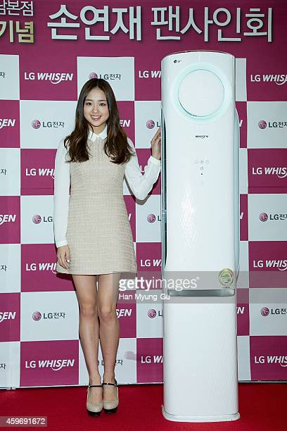 Son YeonJae attends the autograph session for LG at LG Bestshop gangnam store on November 28 2014 in Seoul South Korea