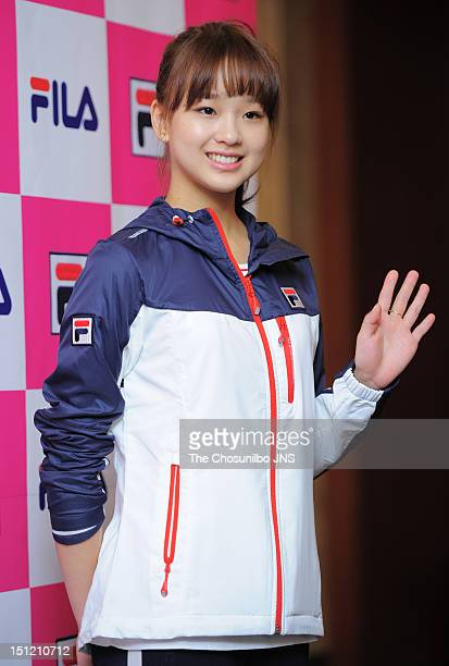 Son YeonJae signes a sponsorship deal with FILA Korea at lotte hotel on August 29 2012 in Seoul South Korea