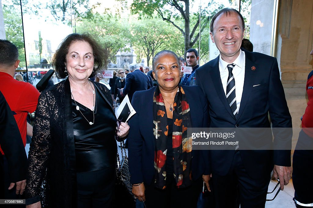 Sona Attanian, French Minister of Justice Christiane Taubira and PDT UGAB (Armenian General Benevolent Union) Philippe Panossian attend the Concert in Memory of 100th Anniversary of Armenian Genocide at Theatre du Chatelet on April 21, 2015 in Paris, France.